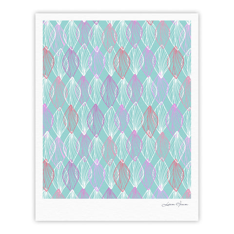 "Julia Grifol ""My White Leaves"" Pink Aqua Fine Art Gallery Print - KESS InHouse"