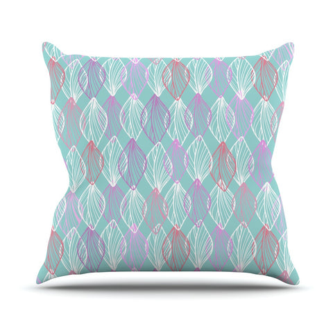 "Julia Grifol ""My White Leaves"" Pink Aqua Outdoor Throw Pillow - KESS InHouse  - 1"