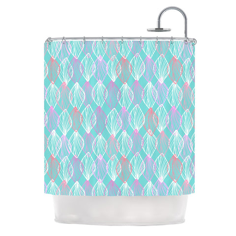 "Julia Grifol ""My White Leaves"" Pink Aqua Shower Curtain - KESS InHouse"