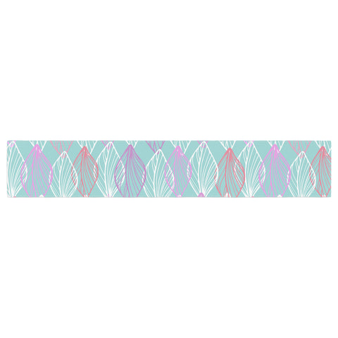 "Julia Grifol ""My White Leaves"" Pink Aqua Table Runner - KESS InHouse  - 1"