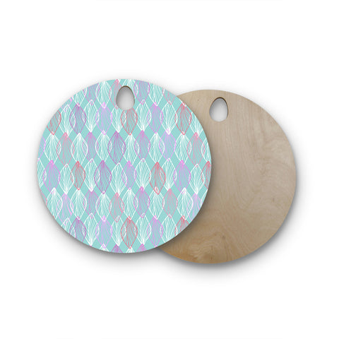 "Julia Grifol ""My White Leaves"" Pink Aqua Round Wooden Cutting Board"