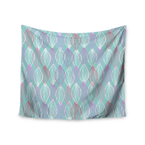 "Julia Grifol ""My White Leaves"" Pink Aqua Wall Tapestry - KESS InHouse  - 1"