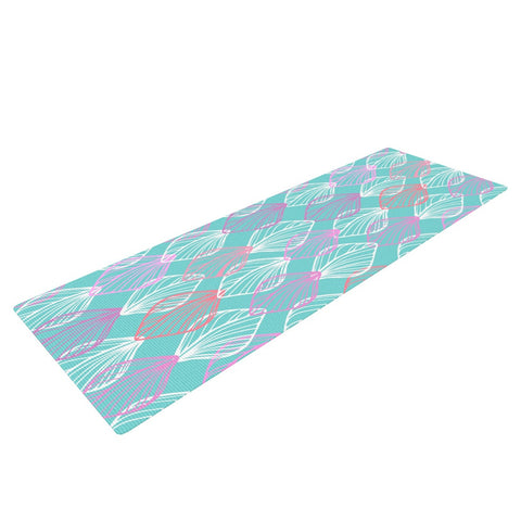 "Julia Grifol ""My White Leaves"" Pink Aqua Yoga Mat - KESS InHouse  - 1"