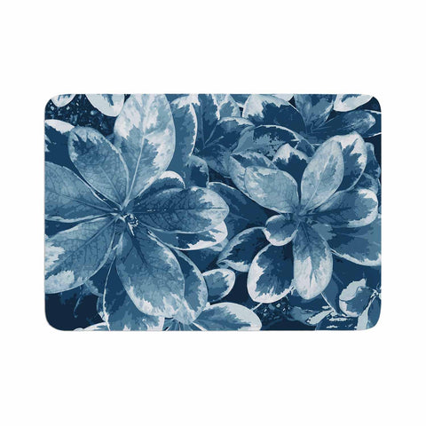 "Julia Grifol ""Leaves"" Blue Floral Memory Foam Bath Mat - KESS InHouse"