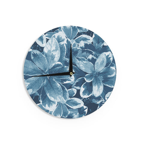 "Julia Grifol ""Leaves"" Blue Floral Wall Clock - KESS InHouse"