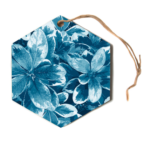 "julia grifol ""Leaves"" Blue Floral Hexagon Holiday Ornament"