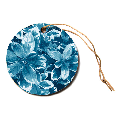 "julia grifol ""Leaves"" Blue Floral Circle Holiday Ornament"