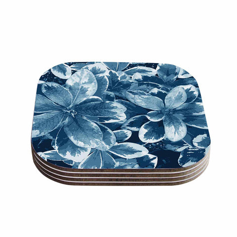 "Julia Grifol ""Leaves"" Blue Floral Coasters (Set of 4)"