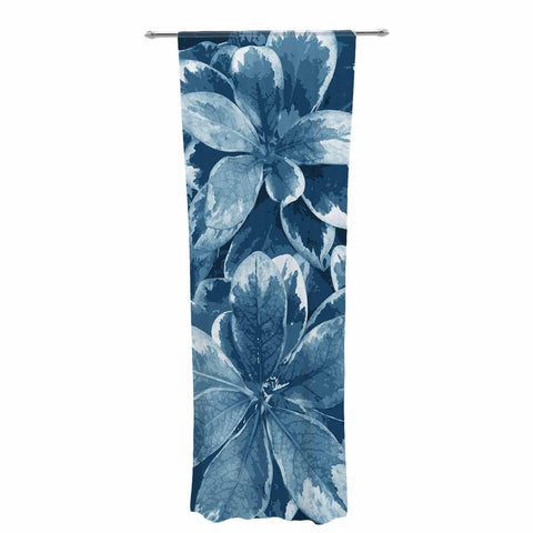 "Julia Grifol ""Leaves"" Blue Floral Decorative Sheer Curtain - KESS InHouse  - 1"