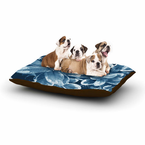 "Julia Grifol ""Leaves"" Blue Floral Dog Bed - KESS InHouse  - 1"