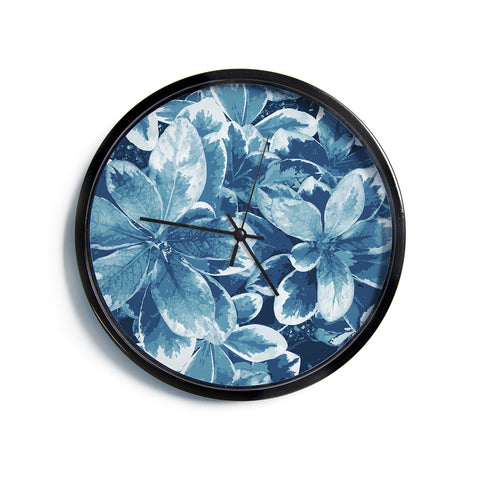 "Julia Grifol ""Leaves"" Blue Floral Modern Wall Clock"