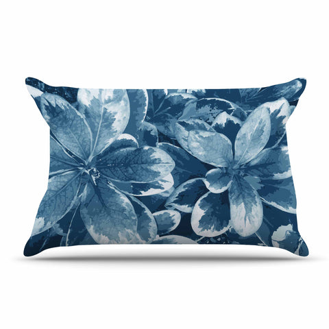 "Julia Grifol ""Leaves"" Blue Floral Pillow Sham - KESS InHouse  - 1"