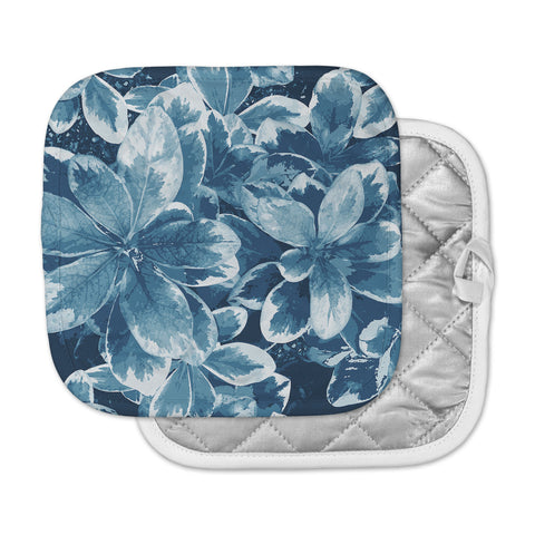 "Julia Grifol ""Leaves"" Blue Floral Pot Holder"