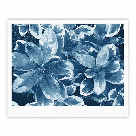 "Julia Grifol ""Leaves"" Blue Floral Fine Art Gallery Print - KESS InHouse"