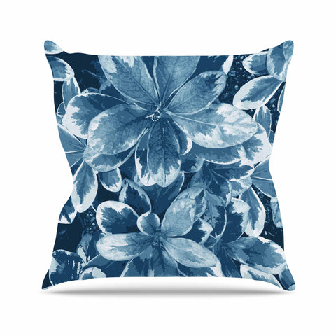 "Julia Grifol ""Leaves"" Blue Floral Outdoor Throw Pillow - KESS InHouse  - 1"
