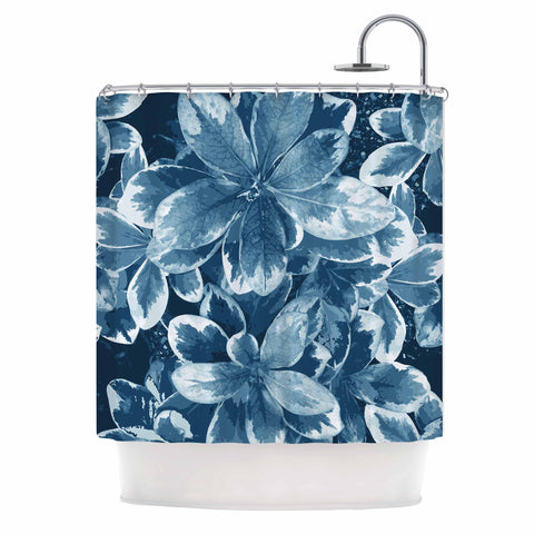"Julia Grifol ""Leaves"" Blue Floral Shower Curtain - KESS InHouse"