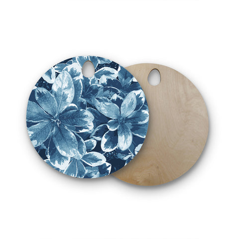 "Julia Grifol ""Leaves"" Blue Floral Round Wooden Cutting Board"