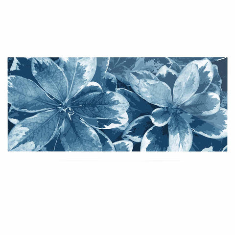 "Julia Grifol ""Leaves"" Blue Floral Luxe Rectangle Panel - KESS InHouse  - 1"