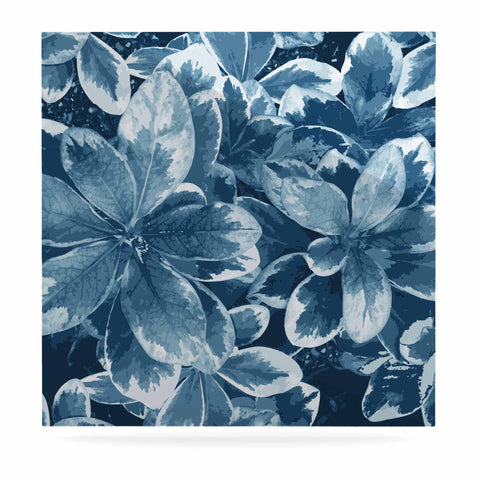 "Julia Grifol ""Leaves"" Blue Floral Luxe Square Panel - KESS InHouse  - 1"