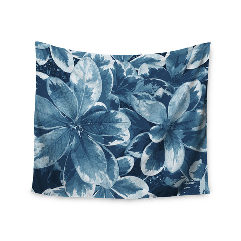 "Julia Grifol ""Leaves"" Blue Floral Wall Tapestry - KESS InHouse  - 1"