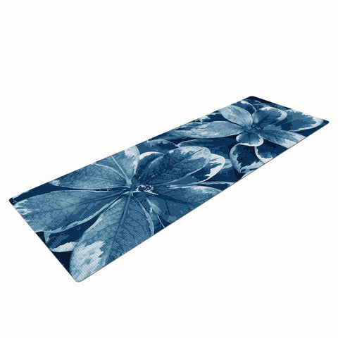 "Julia Grifol ""Leaves"" Blue Floral Yoga Mat - KESS InHouse  - 1"