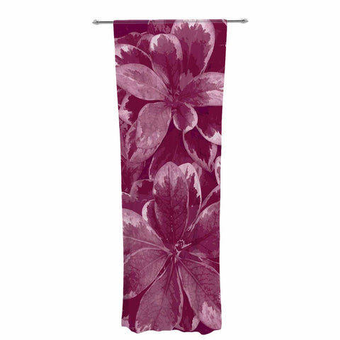 "Julia Grifol ""Warm Leaves"" Red Digital Decorative Sheer Curtain - KESS InHouse  - 1"