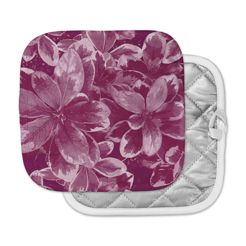 "Julia Grifol ""Warm Leaves"" Red Digital Pot Holder"