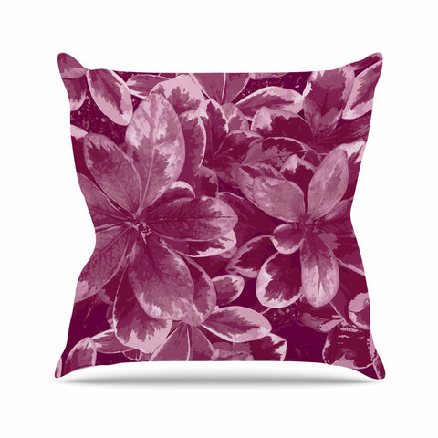"Julia Grifol ""Warm Leaves"" Red Digital Outdoor Throw Pillow - KESS InHouse  - 1"