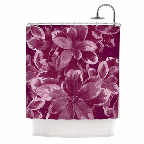 "Julia Grifol ""Warm Leaves"" Red Digital Shower Curtain - KESS InHouse"