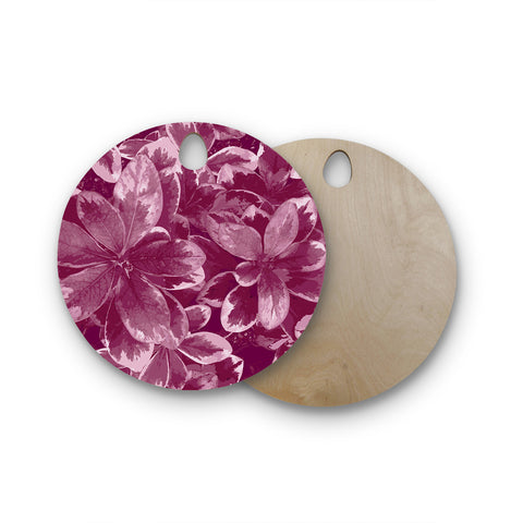 "Julia Grifol ""Warm Leaves"" Red Digital Round Wooden Cutting Board"