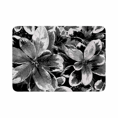 "Julia Grifol ""Leaves In Gray"" Floral Black Memory Foam Bath Mat - KESS InHouse"