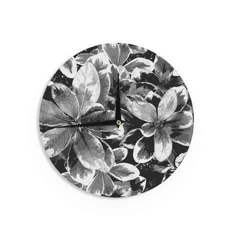 "Julia Grifol ""Leaves In Gray"" Floral Black Wall Clock - KESS InHouse"