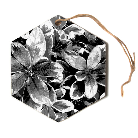 "julia grifol ""Leaves In Grey"" Floral Black Hexagon Holiday Ornament"