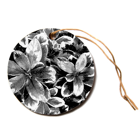 "julia grifol ""Leaves In Grey"" Floral Black Circle Holiday Ornament"