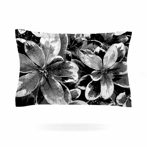 "Julia Grifol ""Leaves In Gray"" Floral Black Pillow Sham - KESS InHouse  - 1"