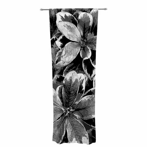 "Julia Grifol ""Leaves In Gray"" Floral Black Decorative Sheer Curtain - KESS InHouse  - 1"