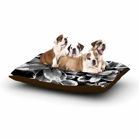 "Julia Grifol ""Leaves In Gray"" Floral Black Dog Bed - KESS InHouse  - 1"