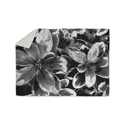 "Julia Grifol ""Leaves In Gray"" Floral Black Sherpa Blanket - KESS InHouse  - 1"