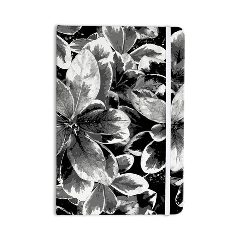 "Julia Grifol ""Leaves In Gray"" Floral Black Everything Notebook - KESS InHouse  - 1"