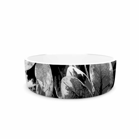 "Julia Grifol ""Leaves In Gray"" Floral Black Pet Bowl - KESS InHouse"
