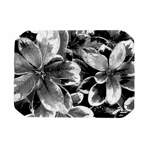 "Julia Grifol ""Leaves In Gray"" Floral Black Place Mat - KESS InHouse"