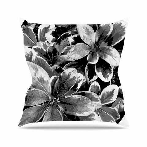 "Julia Grifol ""Leaves In Gray"" Floral Black Outdoor Throw Pillow - KESS InHouse  - 1"