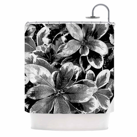 "Julia Grifol ""Leaves In Gray"" Floral Black Shower Curtain - KESS InHouse"