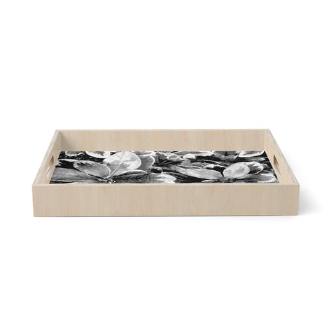 "julia grifol ""Leaves In Grey"" Floral Black Birchwood Tray"