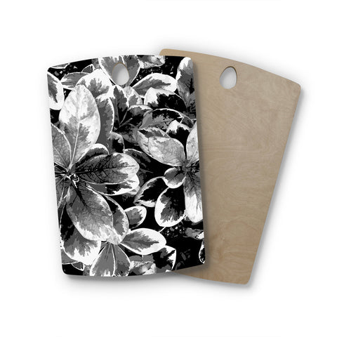"Julia Grifol ""Leaves In Gray"" Floral Black Rectangle Wooden Cutting Board"
