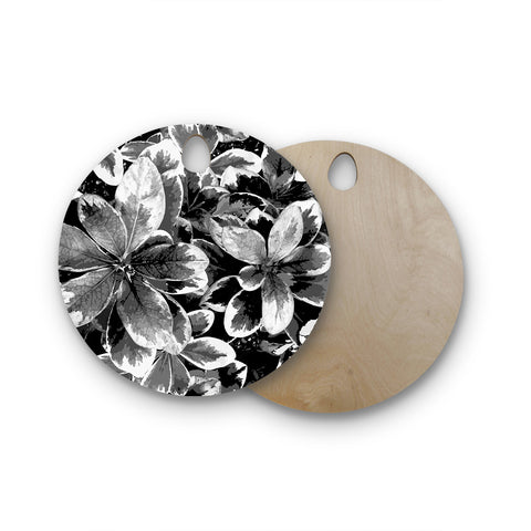 "Julia Grifol ""Leaves In Gray"" Floral Black Round Wooden Cutting Board"