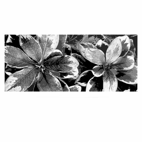 "Julia Grifol ""Leaves In Gray"" Floral Black Luxe Rectangle Panel - KESS InHouse  - 1"