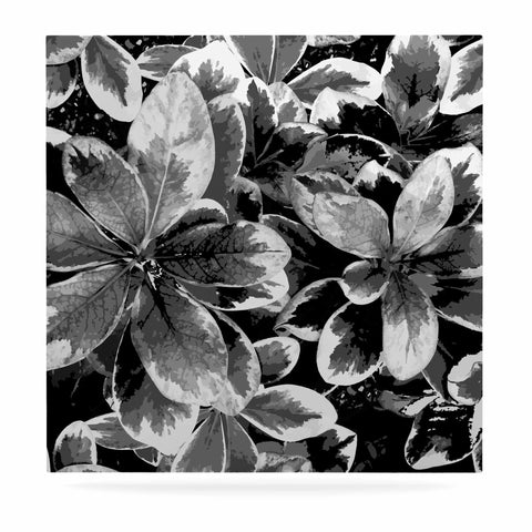 "Julia Grifol ""Leaves In Gray"" Floral Black Luxe Square Panel - KESS InHouse  - 1"