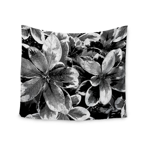 "Julia Grifol ""Leaves In Gray"" Floral Black Wall Tapestry - KESS InHouse  - 1"