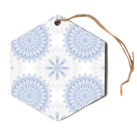 "julia grifol ""Mandalas In Blue"" Vector Geometric Hexagon Holiday Ornament"